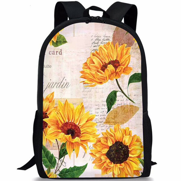 Sunflower Poetic Laptop Purse Floral Backpack