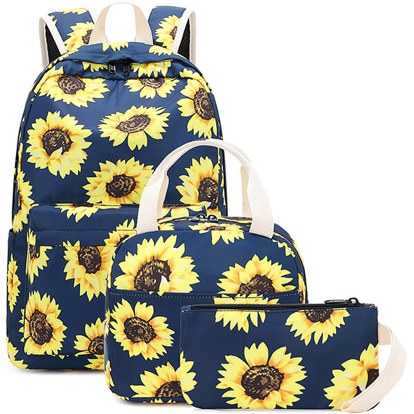 3 in 1 Teens Canvas Sunflower Floral Backpack Set