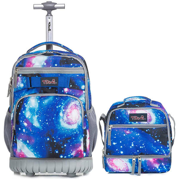 Galaxy Wheeled Laptop Backpack with Lunch Bag