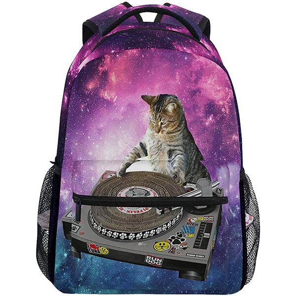 Twill Weave Lightweight DJ Cat School Backpack