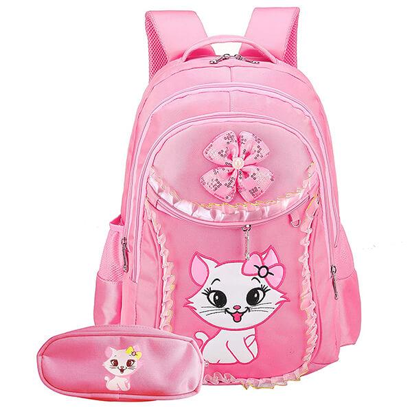 Pink Bowknot Wearing Cat Nylon Backpack Set