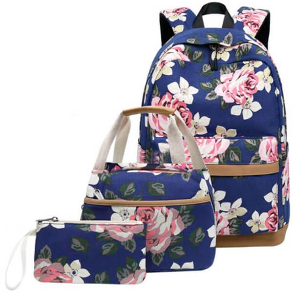 3 Pcs Floral Canvas Travel Teen Girls Lightweight Backpack Set