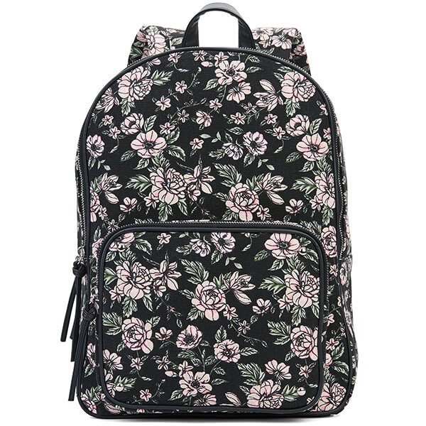 Black Floral Double Compartment Secondary School Backpack