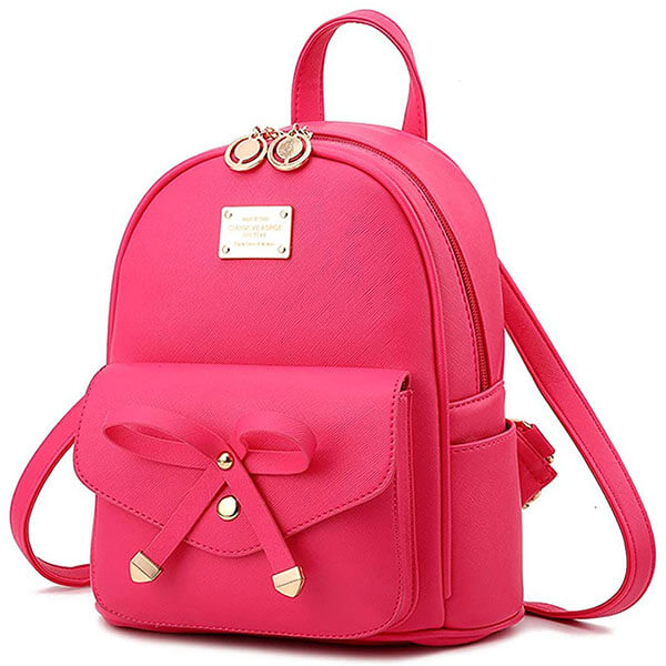 Hot Pink Bowknot Faux Leather Backpack