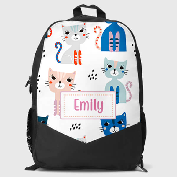 Personalized Name Kitty Print Cat Backpack
