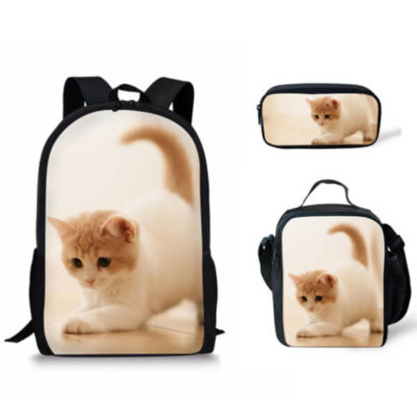 3pcs Cat Backpack Set with Lunchbox and Pen Case