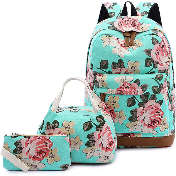 Canvas Dot and polyester Cute 3 Pcs Flower Backpack Set