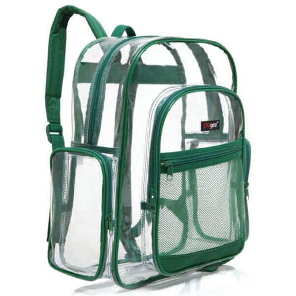 Clear Green Trim School Backpack