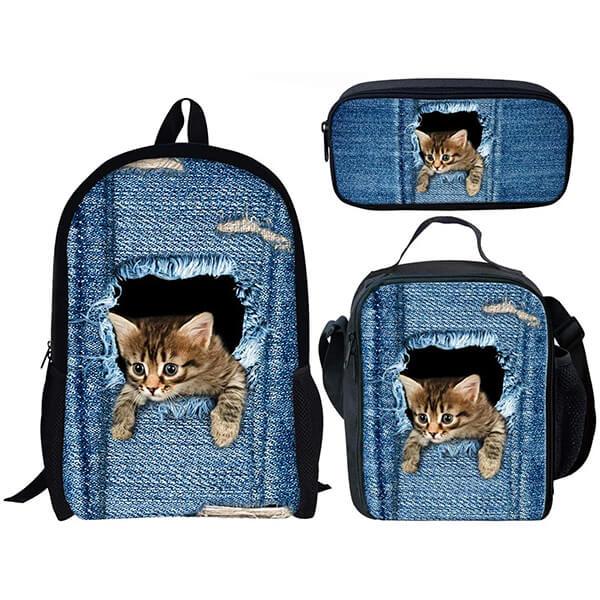 Cute Denim Cat School Backpack for Kids
