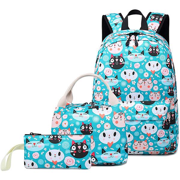 Blue Cat Laptop Casual Backpack Set