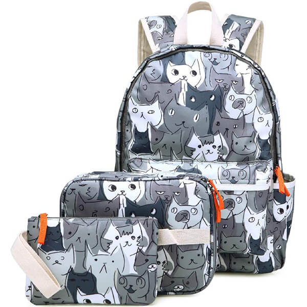 Gray Kitty 14inch Laptop Backpack Set