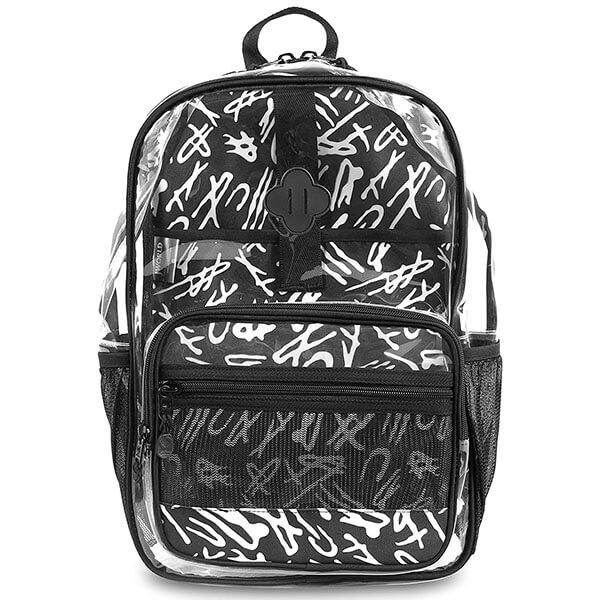 Printed Padded Back Clear Backpack