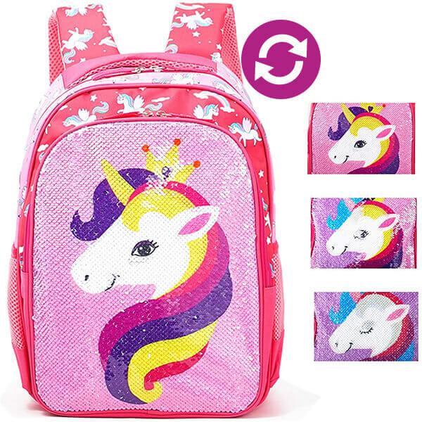 Ergonomic Rainbow Unicorn Girls Sequin Backpack
