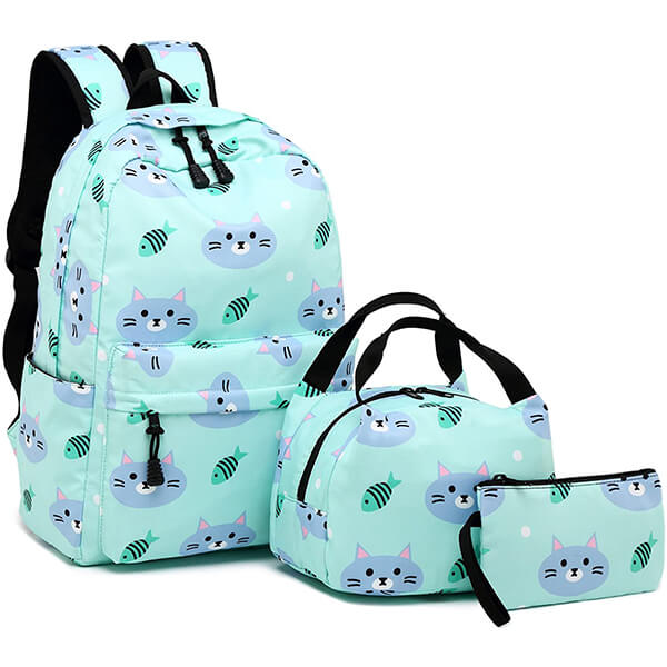 Cat and Fish Soft-touching Polyester Backpack