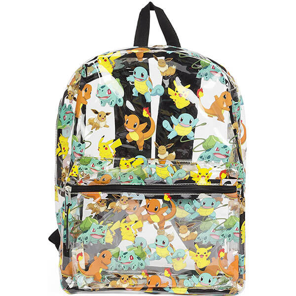 Pokemon Pikachu Charmander Squirtle Clear Backpack