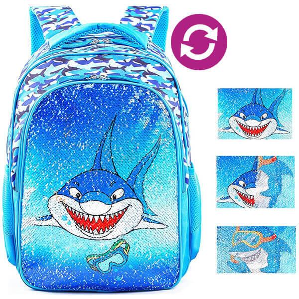 Shark Magic Reversible Boys Sequin Backpack