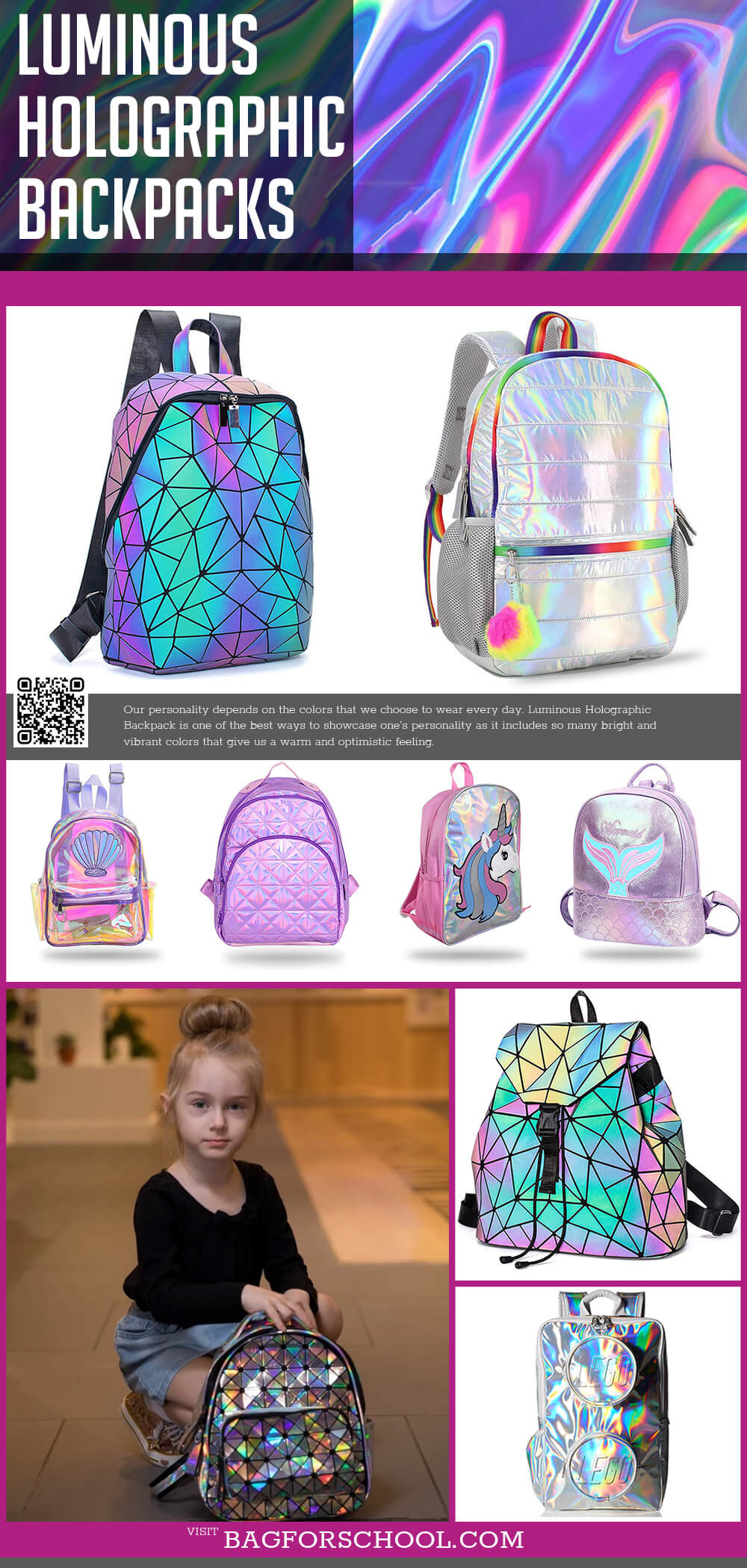 Luminous Holographic Backpacks