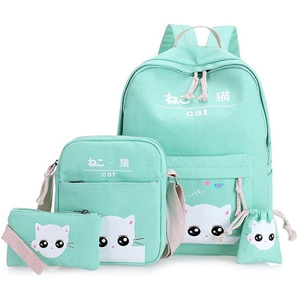4 pcs Teenage Students Green Kitty Backpack Set