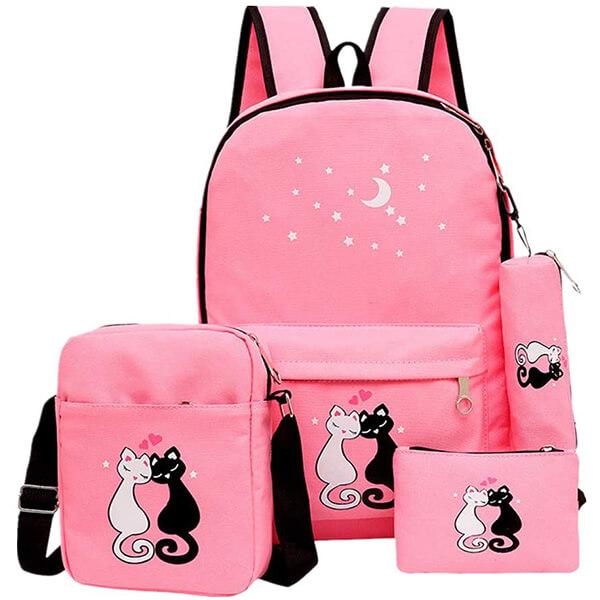 4Pcs Couple Cats Elementary Girls Backpack Set