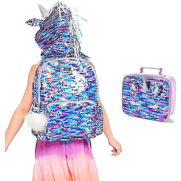 Hooded Unicorn Horn Flip Sequins Backpack Set