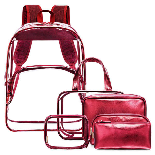 Red Clear Backpack Set for Girls with Makeup Bag