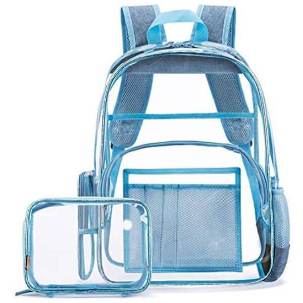 Blue 2 in 1 Clear Backpack School Set