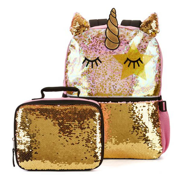 3D Unicorn Star Love Sequin Backpack with Lunch Bag