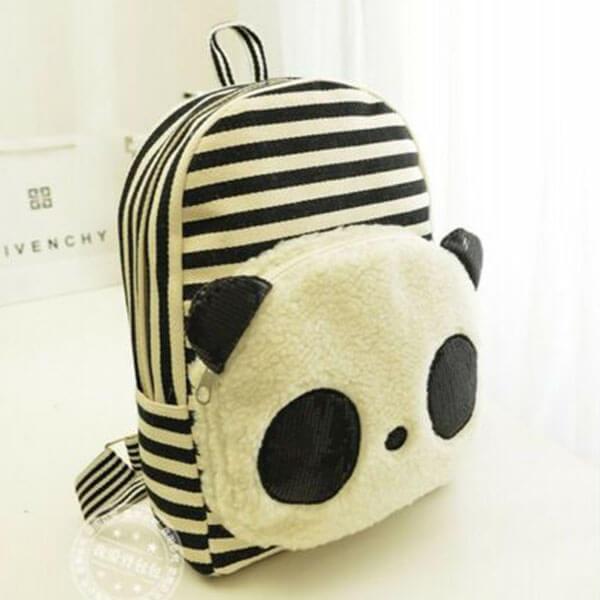 Cartoon Striped Panda Bear Backpack for Teens
