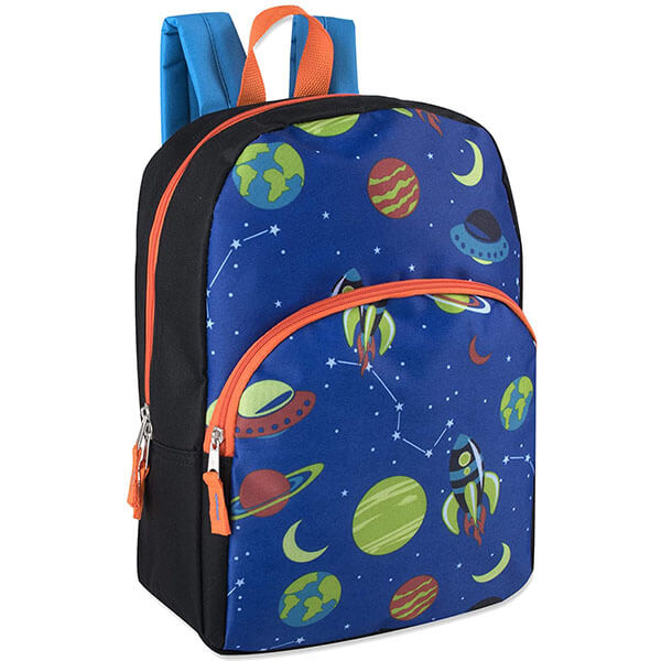 Planets and Spaceship Backpack with Stylish Pattern