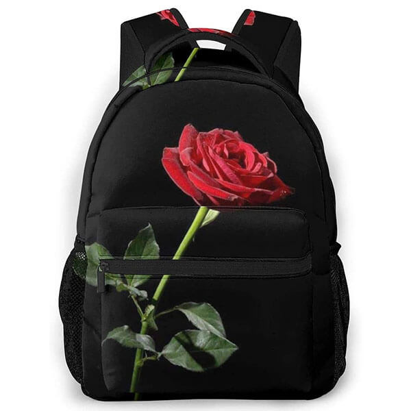 Rugged Polyester Backpack with Roses for Youth