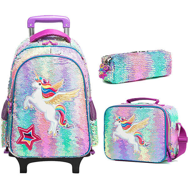 Rolling Trolley Wheeled Sequin Backpack Set
