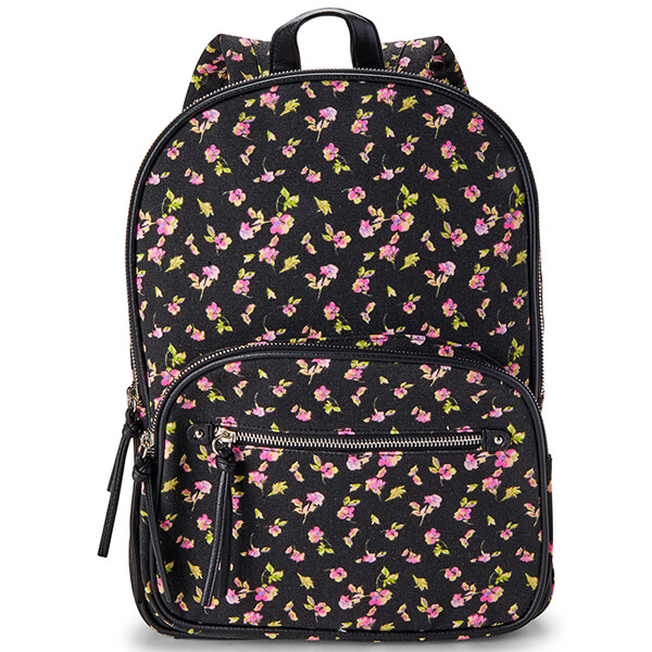 Double Gusset Black Floral Secondary Schoolers Backpack