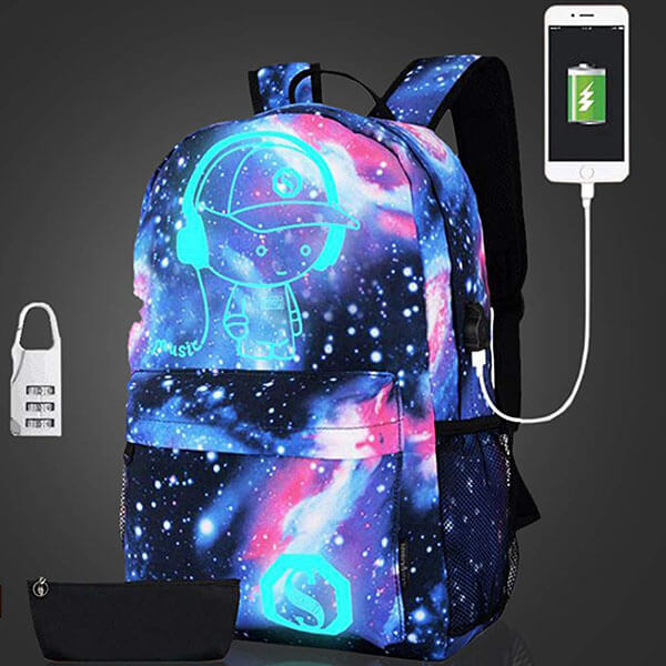 Glow in the Dark Canvas Backpack with USB Slot