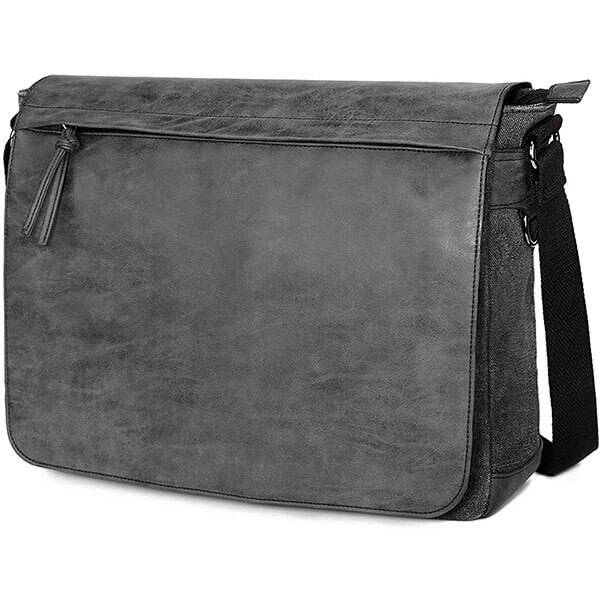 "PU Leather and Canvas 15.6"" Laptop Messenger Bag"