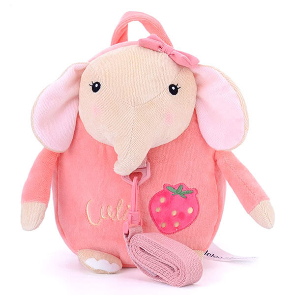 Strawberry Elephant Backpack with Traction Rope
