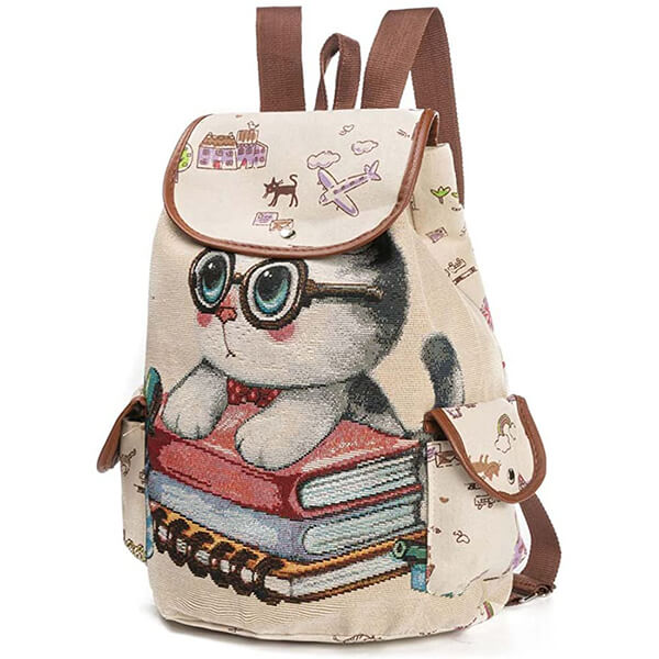 Studious Cat Holding Books Canvas Backpack