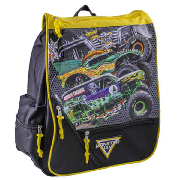 Gray Color with Car Print Interface Monster Jam Backpack