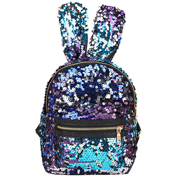 Rabbit Ears PU Leather Sequin Backpack
