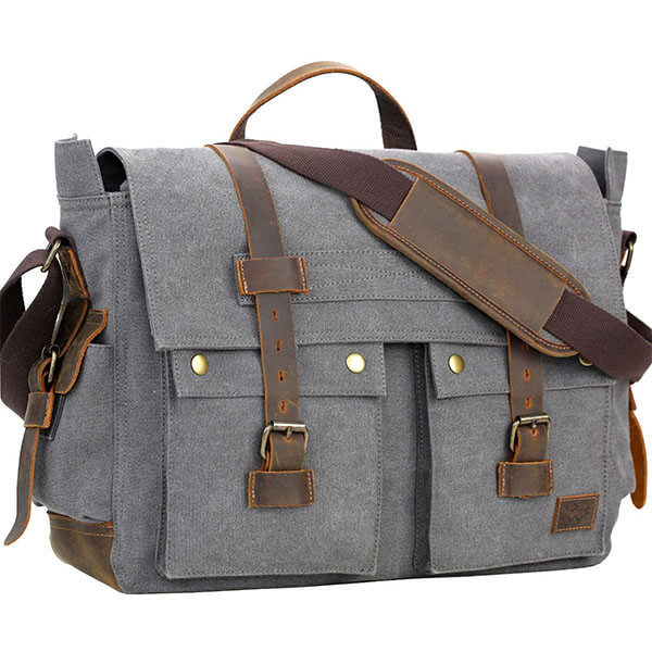 Gray Business Cowhide Leather Messenger Bag