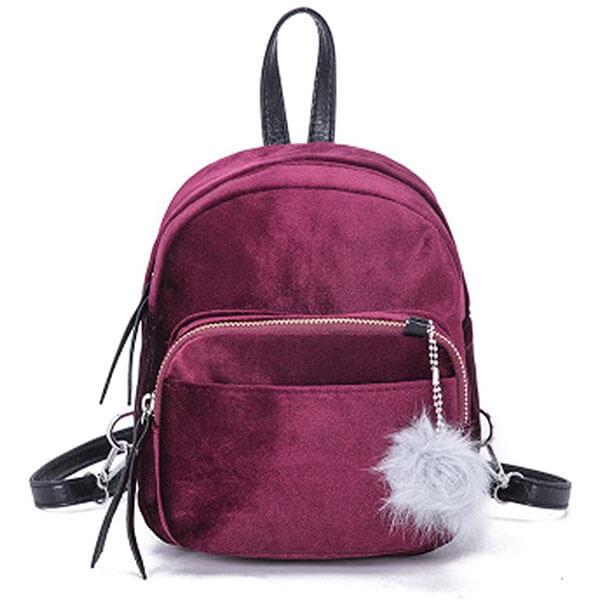 Velvet Fur-Ball Women Mini Backpack