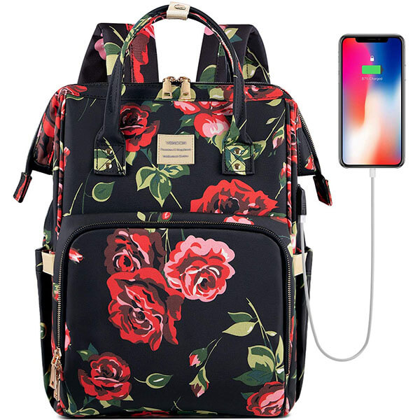 Water-resistant USB Port Backpack with Roses