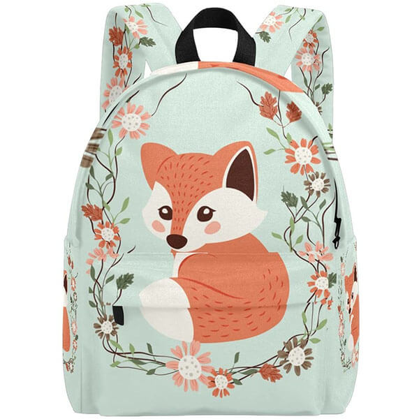 Cute Floral Fox Backpack for High School