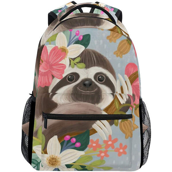 Floral Water Resistant Sloth Backpack