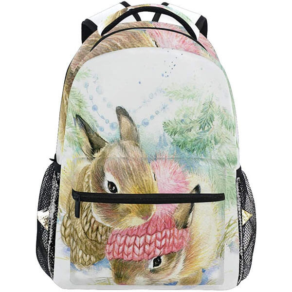 Oil Painting Heat Resistant Rabbit Print Backpack