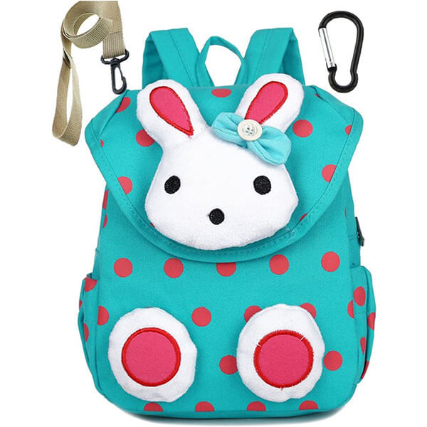 3D Bunny Backpack with Red Polka Dot