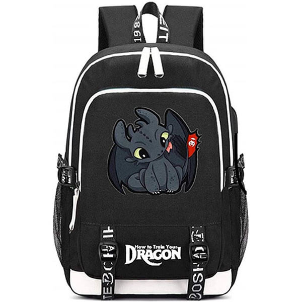 Black Printed White Strip Night Fury Backpack