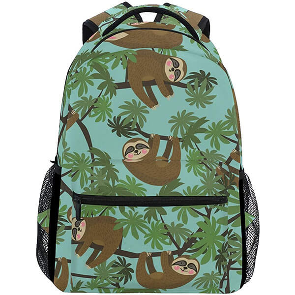 Sloth in Leaves School College Backpack