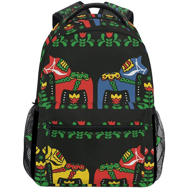 Swedish Dala Horse Folk Student Backpack