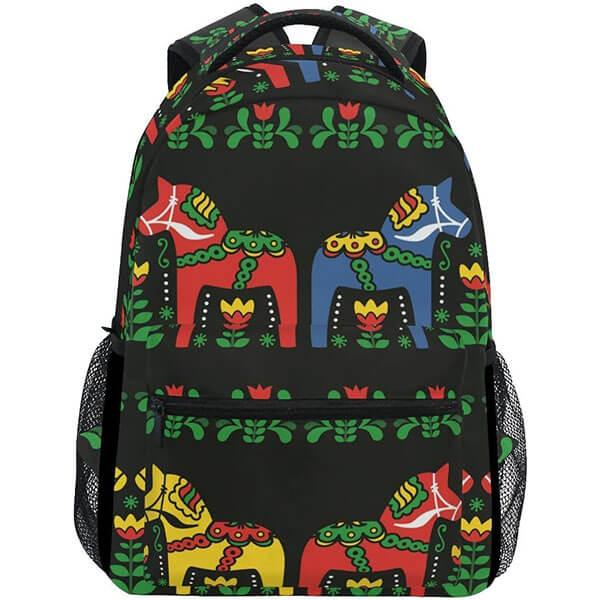 Swedish Dala Horse Folk Student Backpack
