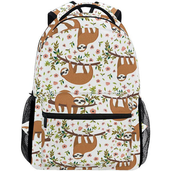 White Polyester Base Brown Sloth Backpack